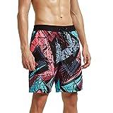 Meerway Costume da Bagno Shorts Calzoncini con Tasche Spiaggia Pantaloncini Corti da Uomo Tronchi di Nuoto Coulisse Rosso e Verde
