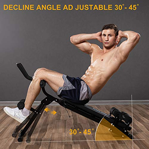 Sit Up Bench, Incline Decline Bench with Resistance Bands Workout Full Body for Home Gym, Abdominal Exercise Equipment, Suitable Men and Women, Black