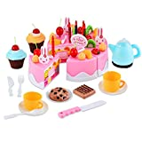 Gearmax 54 PCS Cute Torta Giocattolo Magico Tea Set e Rainbow Torta Finta Play Food Toy Set per dei Capretti (Rosa)