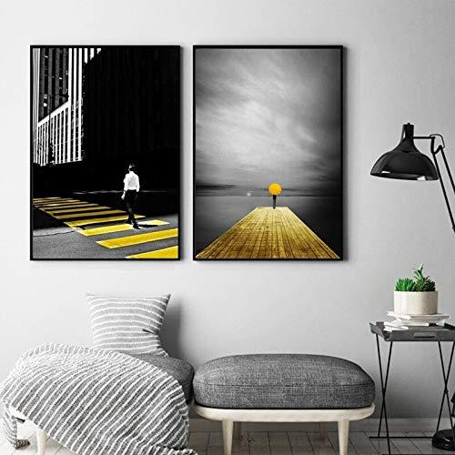 ganlanshu Decoración Abstracta Moderna de la Sala de Estar de la acera del Camino del Color Urbano Blanco Amarillo Negro,Pintura sin Marco,30X45cmx2