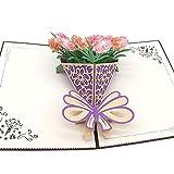 カーネーションの花束のグリーティングカード 母の 誕生日カード 結婚記念日カード 祝賀カード 感謝カード サンキューカード メッセージカード 3Dポップアップカード 封筒付き