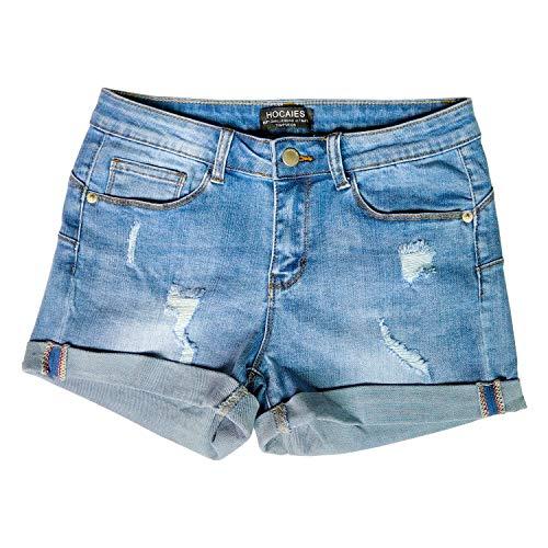 Hocaies Damen Jeansshorts Basic in Aged-Waschung Jeans Bermuda-Shorts Kurze Hosen aus Denim für den Damen Sommer High Waist Denim Kurze Hose mit Quaste Ripped Loch Hotpants Shorts (36, 03 Hell blau)