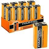 10 Pilas alcalinas Duracell de Bloqueo Industrial 9V, Naranja (Paquete de 10)