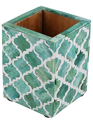 Moroccan & Moorish Art Inspired Desktop Pen & Pencil Holder Cups Office Supplies Organizer Caddy 4x3x4 Inches Green – Christmas Gifts