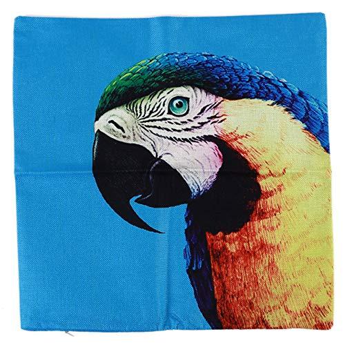 Kaned Funda de cojín de lino con diseño de animales, color azul