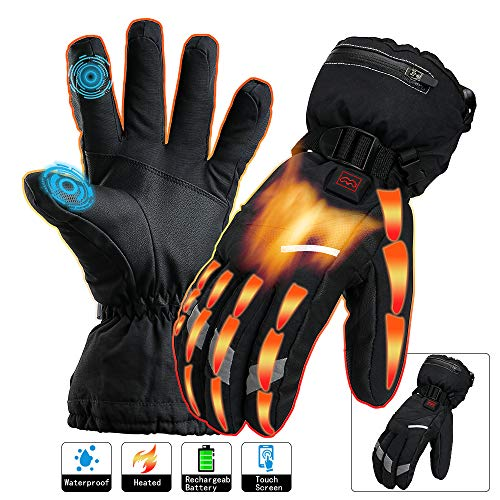 Heated Gloves Men Women Electric Rechargeable Battery Touchscreen Thermal Heat Gloves Kit,Warm Winter Hunt Fish Cycle Motorcycle Drive Camp Ski Hike Outdoor Sport Hand Warmer(XL)