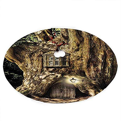 ALLdelete# Christmas Tree Skirt Weihnachtsbaumrock, Märchenhaus Im Baumstamm Im Wald Mit Laternen Volksgeschichten Themen Design, 91Cm (36In)
