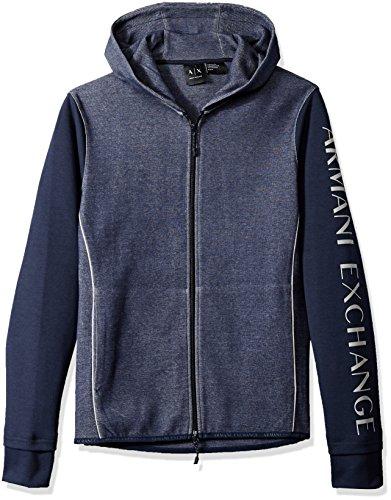 Armani Exchange Herren 8NZM75 Kapuzenpullover, Blau (Htr Navy B0841/Solid 3506), One Size (Herstellergröße: XXL)