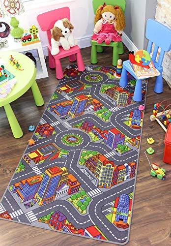 The Rug House Leuchtend farbenfroh Stadt Verkehr Straßenteppich Spielteppich für Kinder - Verfügbar in 3 Größen