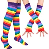 Chalier Womens Rainbow Striped Knee Thigh High Socks Arm Warmer Fingerless Gloves 2 Pairs(rainbow Set) One Size