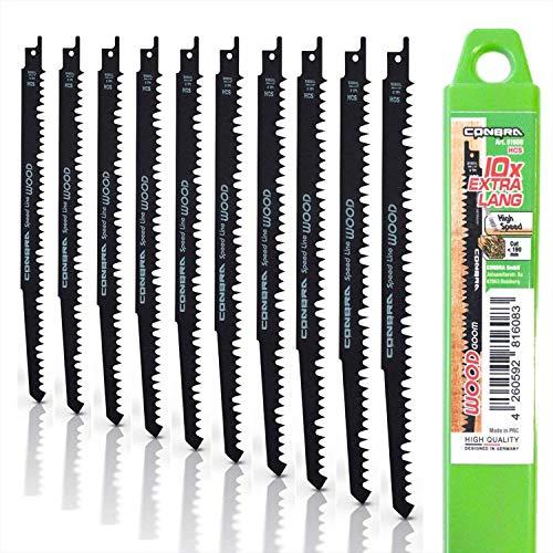 CONBRA® Sägeblatt (10x S1531L im Set) - optimiertes Säbelsägeblatt für Holz in Kunststoffhülle - kompatibel mit Bosch GSA 18V, GSA 18 V-LI C, GSA 12V-14, DJR187ZK, Parkside, Makita & weiteren Marken