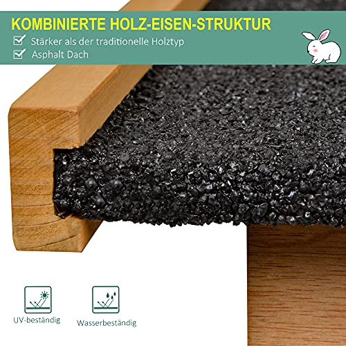 Pawhut Kaninchenstall erhöhtes Haustier Haus Kaninchenkäfig mit verschließbare Tür Holz-Metall Hellgelb 89,5 x 45 x 81 cm