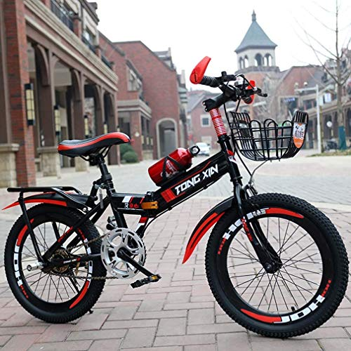 HCMNME Durable Bicycle Foldable Mountain Bike for Kids, 18' 20' 22' High Carbon Steel Folding Bicycle with Kettle and Back Seat & Basket,6-15 Years Old Student Mountain Bikes for Boys Girls,Red,
