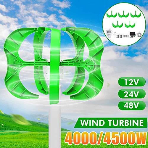 STHfficial 12/24 / 48V Windkraftanlagen Generator 4500W 5 Flügel Generator Laternenwindkraftanlagen Vertikale Achse Für Straßenlaterne + Regler,24V-4500W