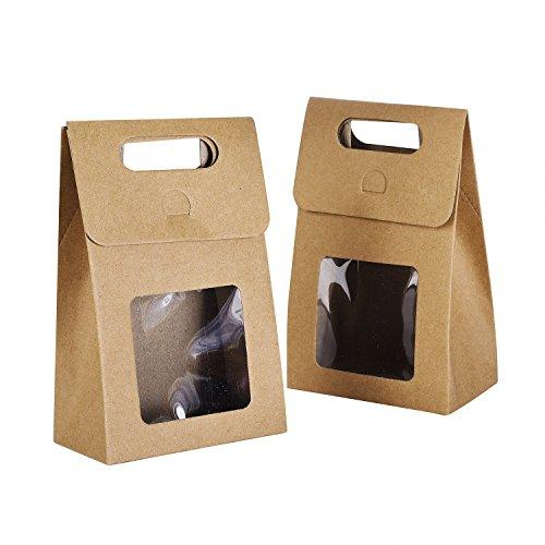 Syndecho 24 Stück Kraftpapier Taschen Papiertüten Geschenktüten,Braun,15,5*9,5*5,5 cm