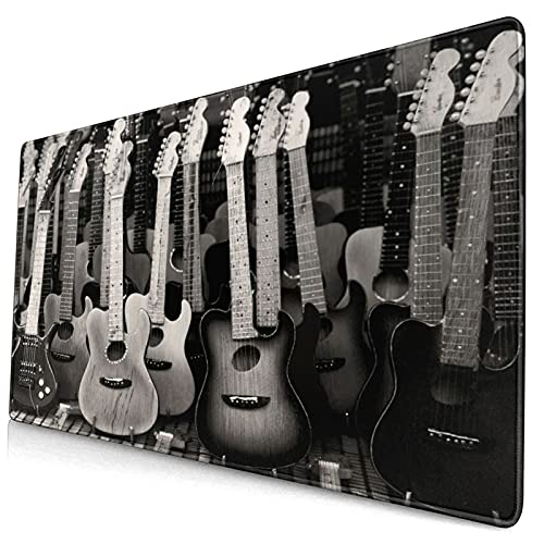 Großes dekoratives Gaming-Mauspad,Schwarzgraue Spielzeuggitarre,lange Computermausmatte mit rutschfester Gummibasis für Büro/Spiele/Zuhause