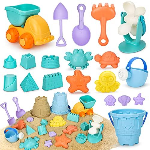 Vanplay Giocattoli da Spiaggia 20 Pezzi Materiale Plastico Morbido con Borsa Rete Spiaggia, Giochi Spiaggia Bambini