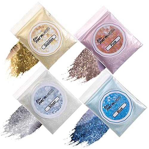 PARAMISS 4 Colors Lip Gloss Glitter Holographic Extra Fine Cosmetic Metallic Shimmer Diamond Glitter Powder for Lip Gloss Glitter Making, 10g Each Glitter Pack Non Toxic