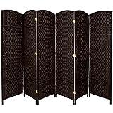 Oriental Furniture 7 ft. Tall Diamond Weave Room Divider - Black - 6 Panels