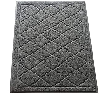 Easyology Large Trapping Cat Litter Mat Kitty Litter Box Mat with Scatter Control to Keep Floors and Rug Clean Gray