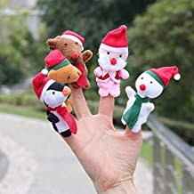 Toysgift 5PCS Christmas Finger Puppets -Xmas Santa Claus and Friends Finger Puppets Toy Soft Hands Finger Puppets Game for Autistic Children, Great Family Parents Talking Story Set