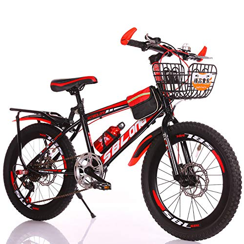 LINGYUN Outdoor Sports Kid's Mountain Bike, 18 20 22 Inch Variable Speed Student Commuter Bike, Carbon Steel Frame and Adjustable Seat, for 8-15 Years Old,Red,18in