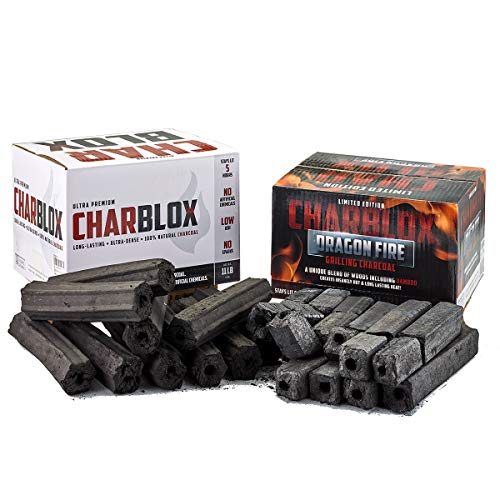 CHARBLOX Dual Pack Classic/Dragon Fire Bamboo Charcoal Logs - 100% Natural, Sustainable, Grilling/BBQ/Smoker/Big Green Egg/Kamado/Ceramic Grill/Kettle Grill/Robata, Thai/Binchotan Alternative (22LB)