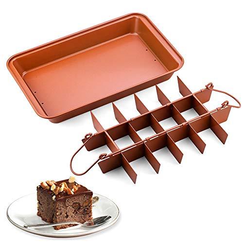 TopHomer Molde para brownie con divisores, 18 cavidades antiadherentes divididas para hornear brownie bandeja precortada para rodajas profesionales
