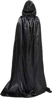 BOSSTER Halloween Cape Zwarte Hooded Cape Volledige Lengte Gewaad Cape met Tether voor Halloween Kostuum Cosplay Party
