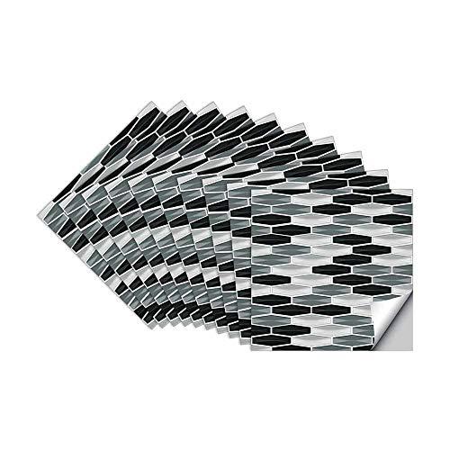 Hiser 10 Piezas Adhesivos Decorativos para Azulejos Pegatinas para Baldosas del Baño/Cocina Estilo cristalino Simple Resistente al Agua Pegatina de Pared (Blanco Negro,15x15cm)