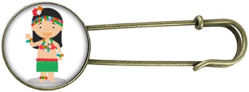 Beautiful Girl Hawaii Cartoon Retro Metal Brooch Pin Clip Jewelry