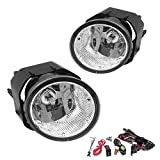 Driving Fog Lights Lamps Replacement for Nissan Sentra 2000-2003, Nissan Frontier 2001-2004, Nissan Xterra 2002-2004, Maxima 00-01 with H3 12V 55W Halogen Bulbs & Switch and Wiring Kit (Clear Lens)