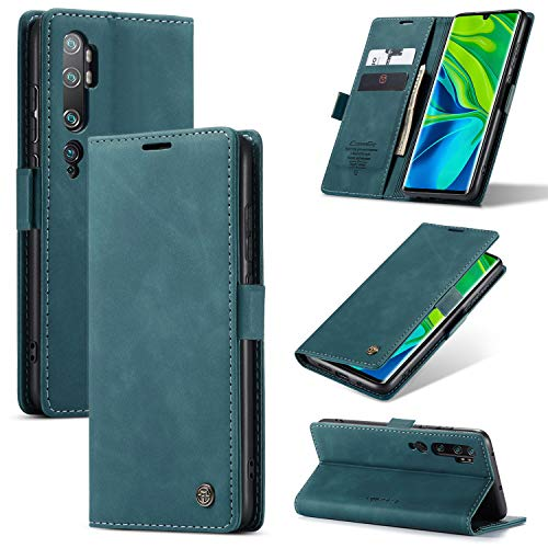 KONEE Hülle Kompatibel mit Xiaomi Mi Note 10/10 Pro, Lederhülle PU Leder Flip Tasche Klappbar Handyhülle mit [Kartenfächer] [Ständer Funktion], Cover Schutzhülle für Mi Note 10/10 Pro - Blaugrün