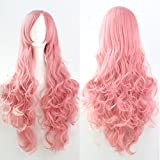 Prettybuy 32' 80cm Long Hair Spiral Curly Cosplay Costume Wig (pink)