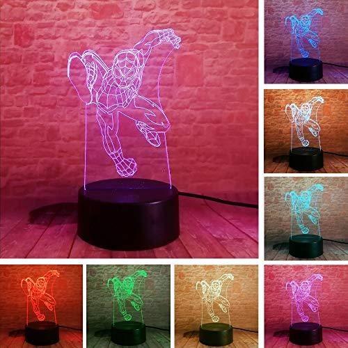 Amroe Hot Avengers Actionfiguren Spinne Superheld Superheld Gradient Weihnachtsspielzeug 3D LED Nachtlicht USB Tischlampe Kinder Geburtstag Geschenk Nachtdekoration am Bett