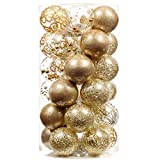 XmasExp 60mm/2.36' Christmas Ball Ornaments Shatterproof Large Clear Plastic Hanging Christmas Tree Ornaments Sets Ball Decorative with Stuffed Delicate Decorations (30CT,Gold)