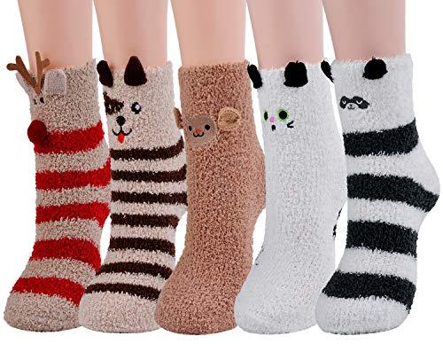 ZOYLINK Kuschel Socken, Flauschige Socken Bettsocken Damen Warme Wintersocken Damen Socken Haussocken (Mehrfarbig 1)