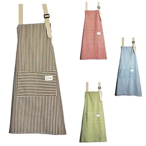 Senteen Delantal Cocina Algodon, 4pcs Delantal De Lino Ajustable Cooking Apron Kitchen...