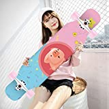 MKJYDM Scooter Maple Long Board Brush Street Dance Board Cuatro Ruedas Doble Skateboard Skateboard Principiante Teen Boy Girl Profesional Skateboard patineta (Color : C)