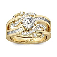 Jeulia Women 1.5 ct 14K Gold Plated Wedding Ring Set 925 Sterling Silver Gone Tone Engagement Rings Round Cut Cubic Zirconia Twist Band Ring Anniversary Promise For Her Teen Girls (Gold, S-½) #2