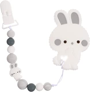 ULTNICE Baby Pacifier Clip Silicone Rabbit Shape Pacifier Holder Leash Pacifier Chain Teether Strap Teething Toy Holder fo...