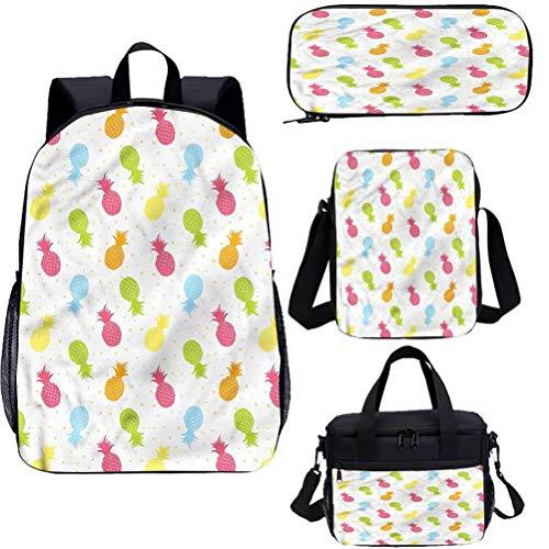"Pine 17 ""mochila con bolsa de almuerzo conjunto de estuche, colorido Fresh Spring Bookbags 4 en 1"