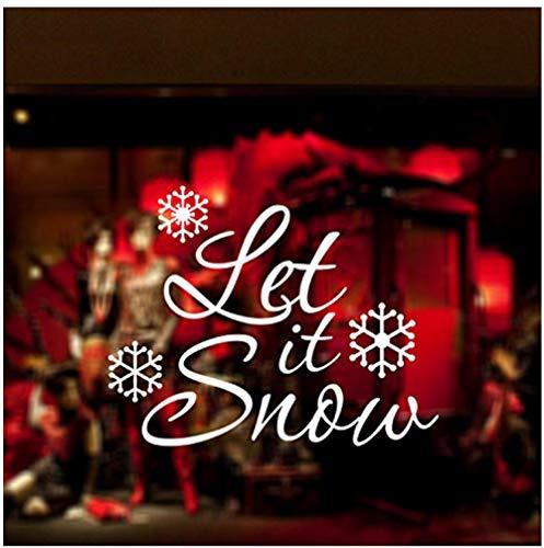 FARLEOPARD Laat Het Sneeuw Quotes Muurstickers Home Decor Woonkamer Vrolijke Kerstmis Sneeuwvlok Winkels Raamdecoratie Stickers52X41CM
