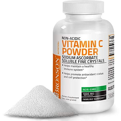 Non Acidic Vitamin C Powder Sodium Ascorbate Non GMO Soluble Fine Crystals - Healthy Immune System, Antioxidant and Cell Protection - 1 Pound (16 Oz, 454 Grams)