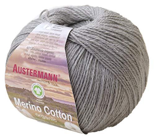 austermann Merino Cotton Organic, hellgrau 17, Biowolle zum Stricken und Häkeln, Wolle GOTS Zertifiziert