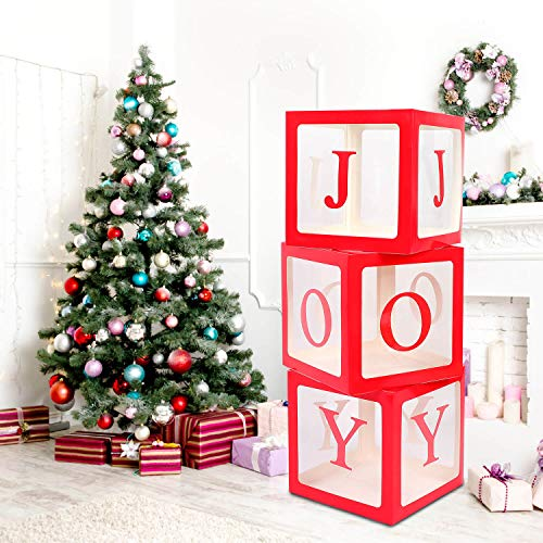 Christmas Decorations Red Joy Box - Transparent Red Joy Blocks for New Year Baby Shower Birthday Party Holiday Decoration
