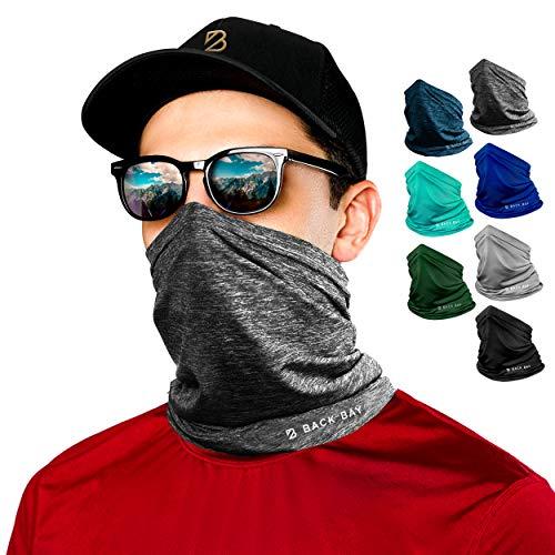 Back Bay Running Gaiter Breathable Workout Neck Gater Mask Cooling Face Reusable -UPF 30 Grey Heather