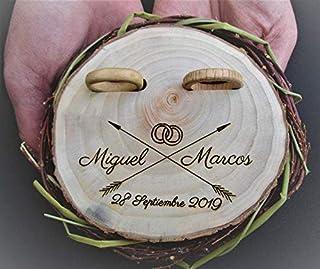 Makluce Porta Anillos, anillo neumático anillo de la bahía de madera, titular de la almohada del anillo de madera, anillos de nenúfes, caja de anillos de boda del corazón de madera, cojín de anillo vi