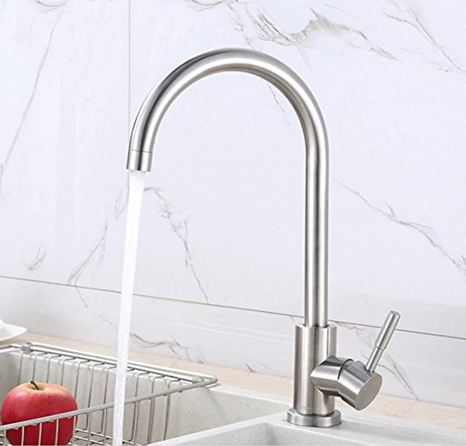WUTONG 304 stainless steel sink big bend faucet hot and cold kitchen basin faucet