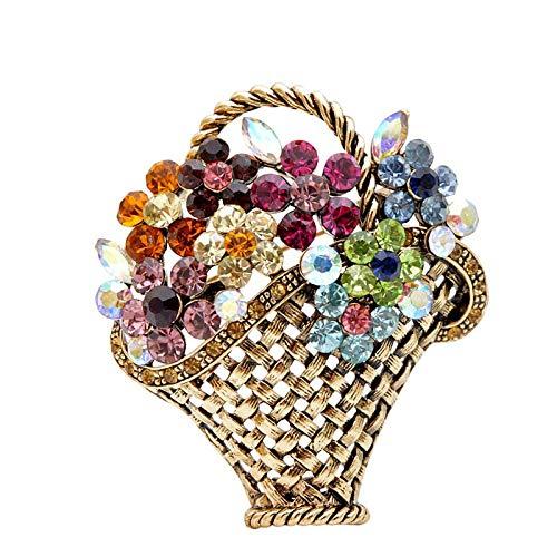 Broche de cesta de flores con diamantes de imitación vintage coloridos para mujer, diseño de otoño, joyería de moda, accesorios para abrigos, por defecto